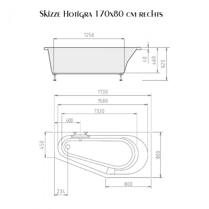 Badewanne 170x80 cm Hotigra Rechts incl Füße Raumspare 80x170 extra tief 46 cm