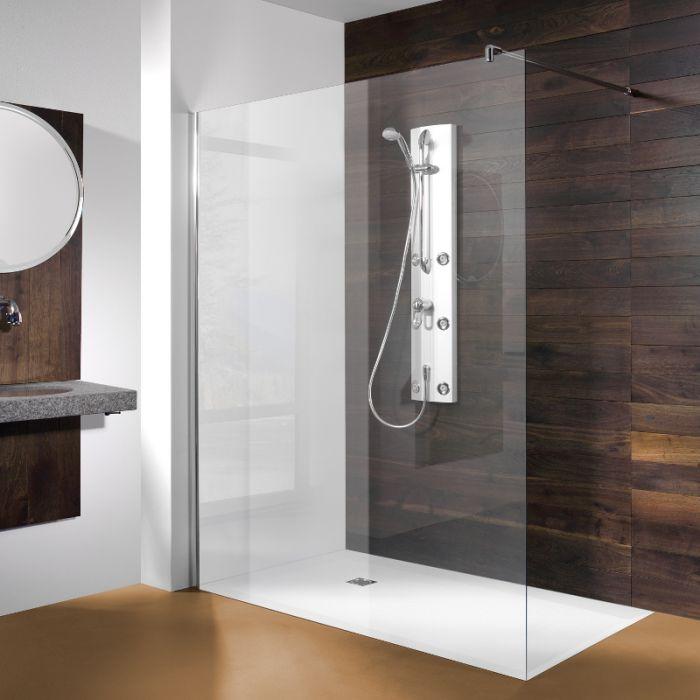 walk in duschwand mit esg 6 mm profile silber matt. Black Bedroom Furniture Sets. Home Design Ideas